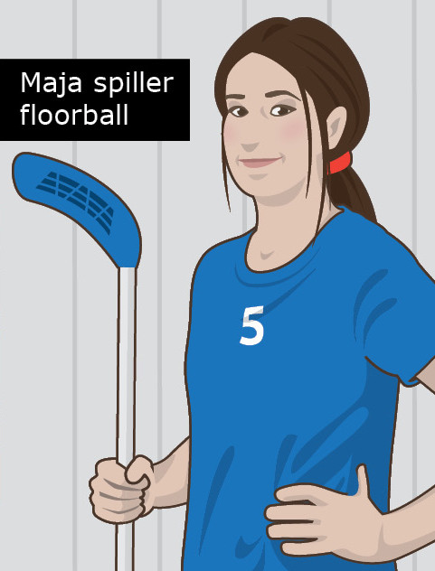 Maja spiller floorball (tegnstøttet version)